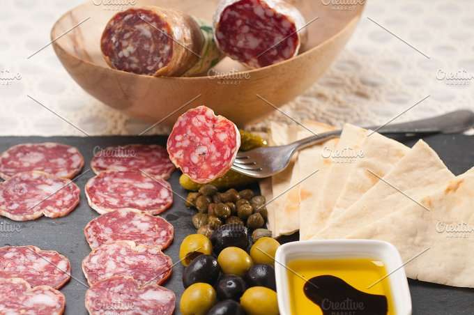 organic salame and pickles with pita bread 13.jpg - Food & Drink