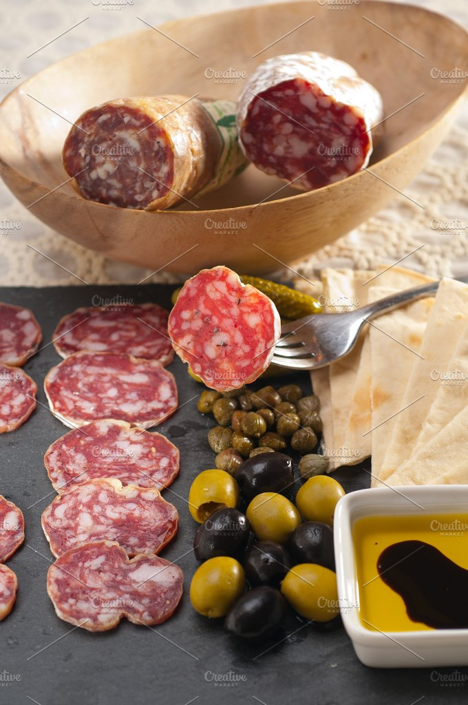 organic salame and pickles with pita bread 18.jpg - Food & Drink
