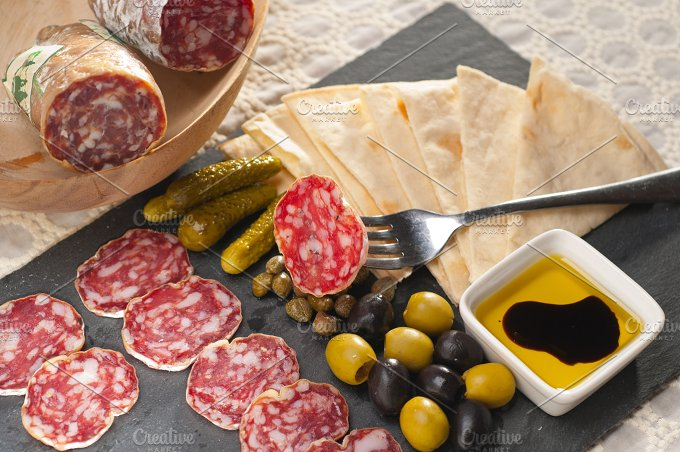 organic salame and pickles with pita bread 25.jpg - Food & Drink