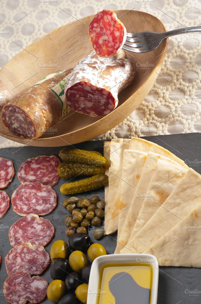 organic salame and pickles with pita bread 29.jpg - Food & Drink