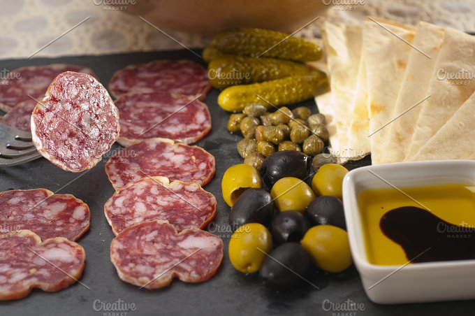 organic salame and pickles with pita bread 32.jpg - Food & Drink