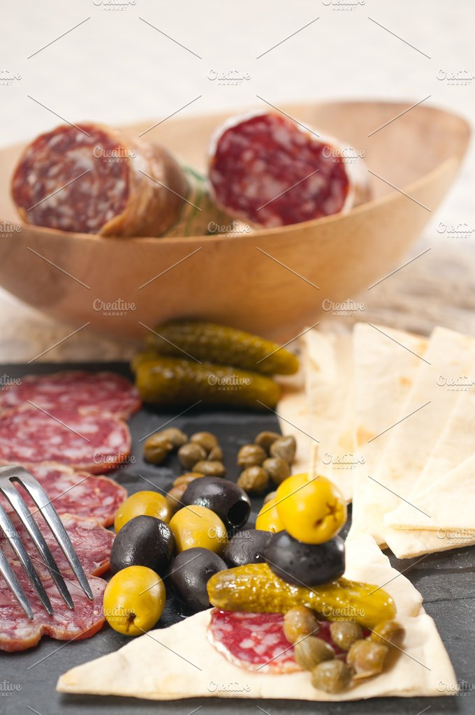 organic salame and pickles with pita bread 36.jpg - Food & Drink