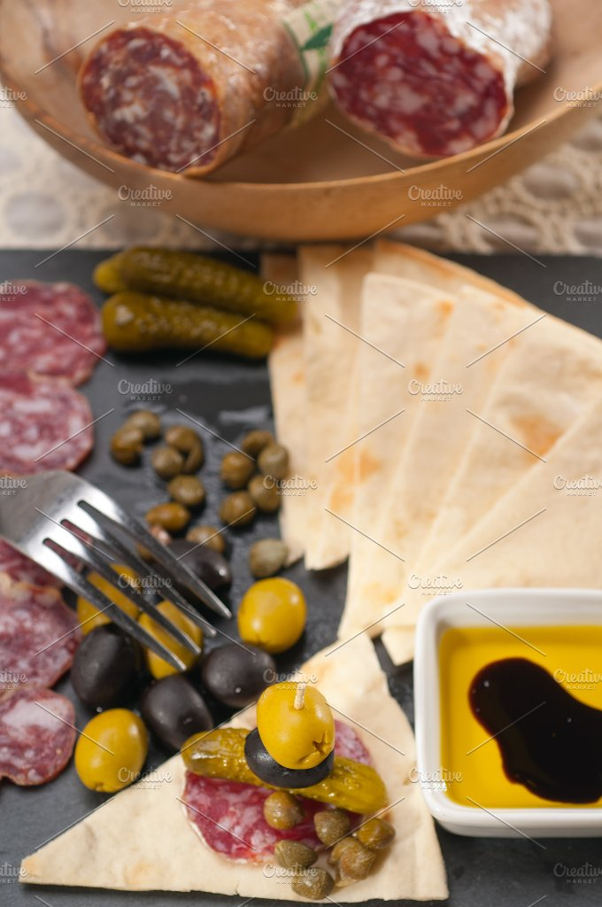 organic salame and pickles with pita bread 38.jpg - Food & Drink