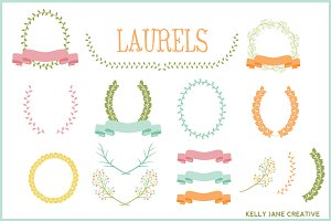 Pastel Laurels, Ribbons & Wreaths