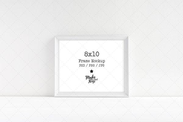 8x10 White wooden frame mockup