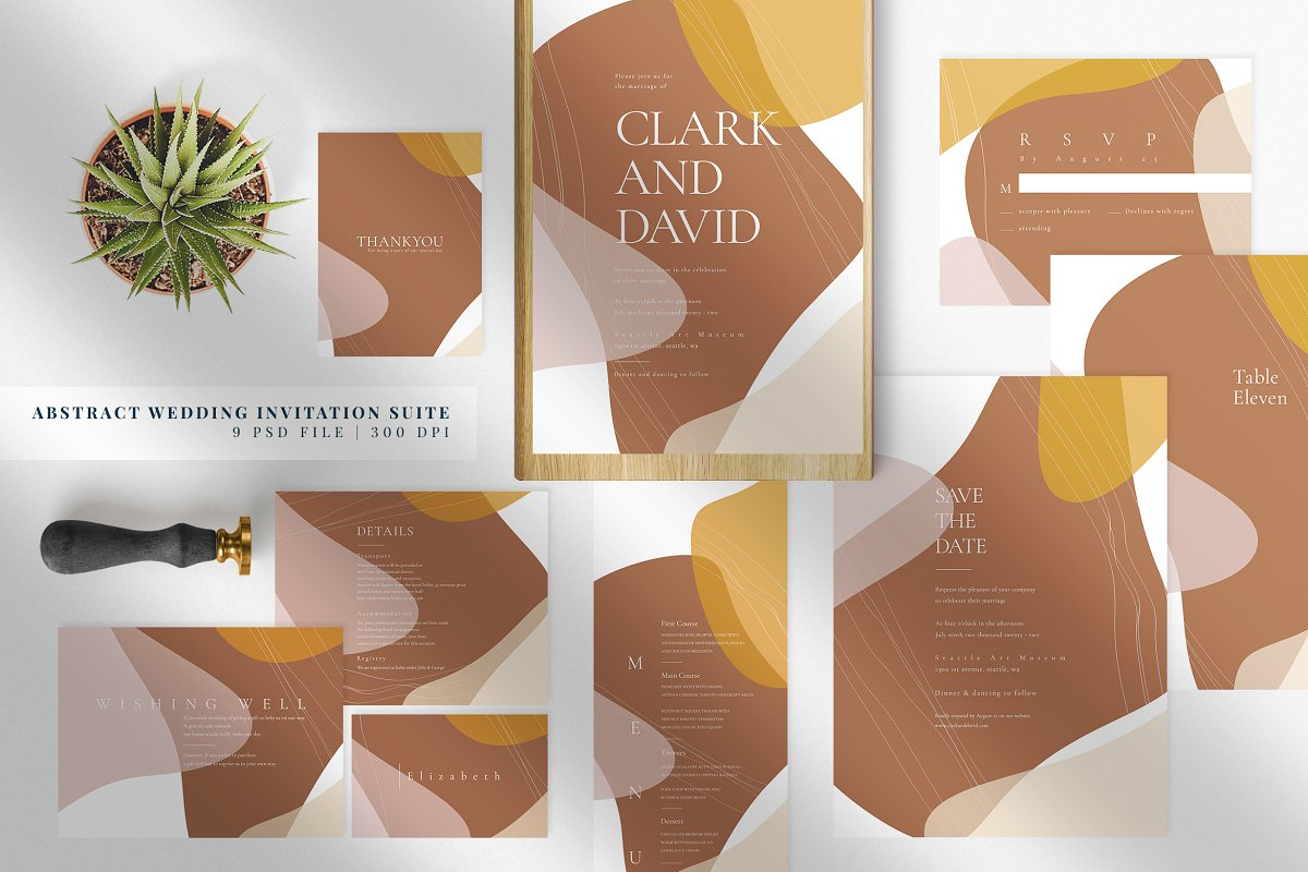 Abstract Wedding Invitation Suite