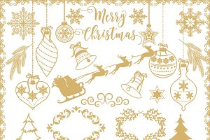 Vector gold/rustic christmas clipart