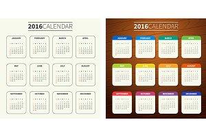 4 Calendar templates for 2016