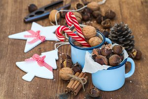 Christmas foods and decoration