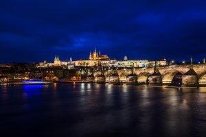 View at night across Vltava River