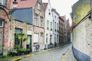 Old medieval side street in Bruges