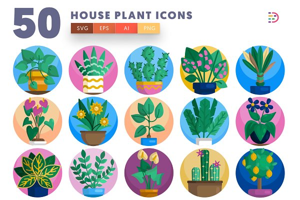 50 House plant icons