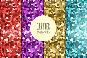 Set of glitter seamless patterns