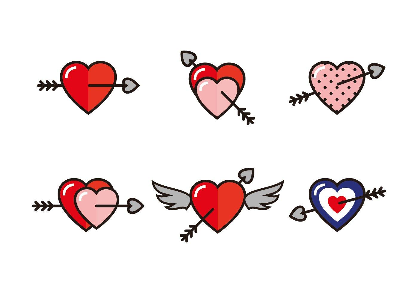 Arrow Through Heart Icons Pre Designed Illustrator Graphics Creative Market
