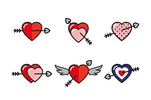 Arrow Through Heart Icons