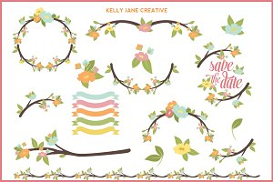 Pastel Branches & Flowers set 1