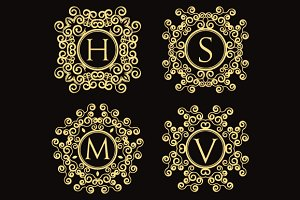 Set of vintage vector monograms