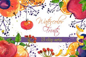 Watercolot Fruits 13 clip arts set
