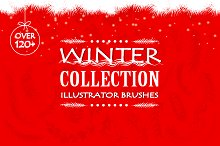 Winter collection vector brushes.