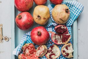 Red and white pomegranates