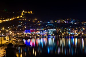 Night view of harbour and fortress