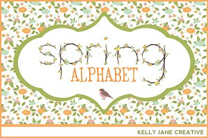 Pastel Flowering Branches Alphabet