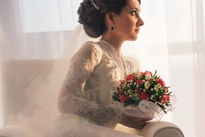 Elegant young bride in wedding