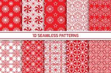 Set of red seamless patterns
