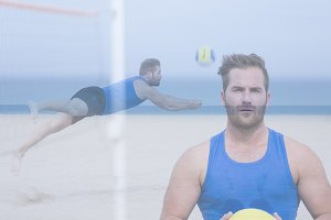 double exposure beach volley player