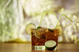 drink concept - cocktail with  cola