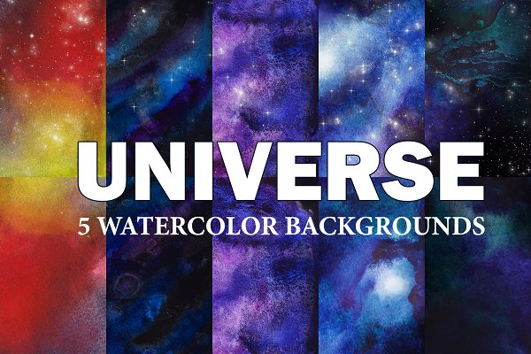 5 Watercolor Universe Backgrounds