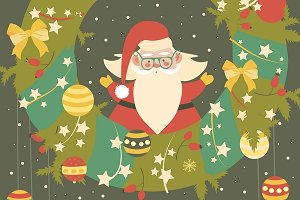 Cute Santa Claus celebrating Christm