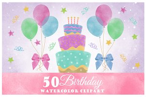 Birthday Watercolor Clipart