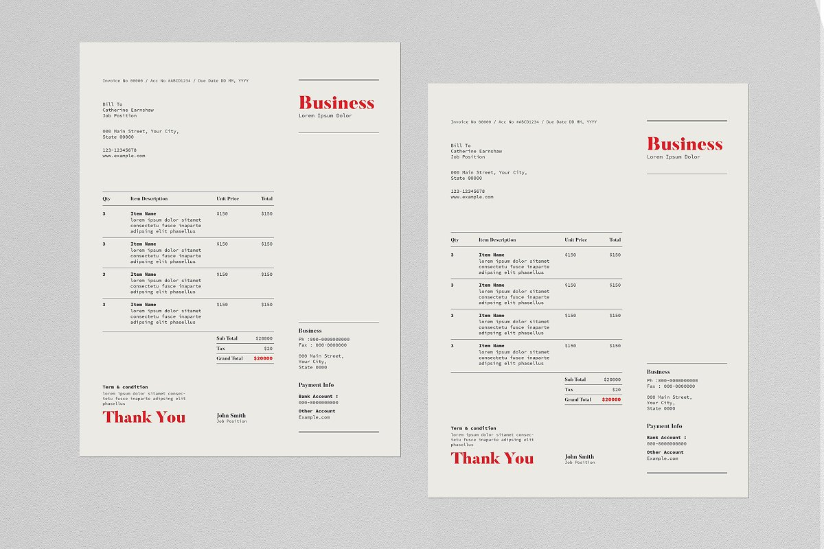 Invoice Template in Stationery Templates - product preview 1