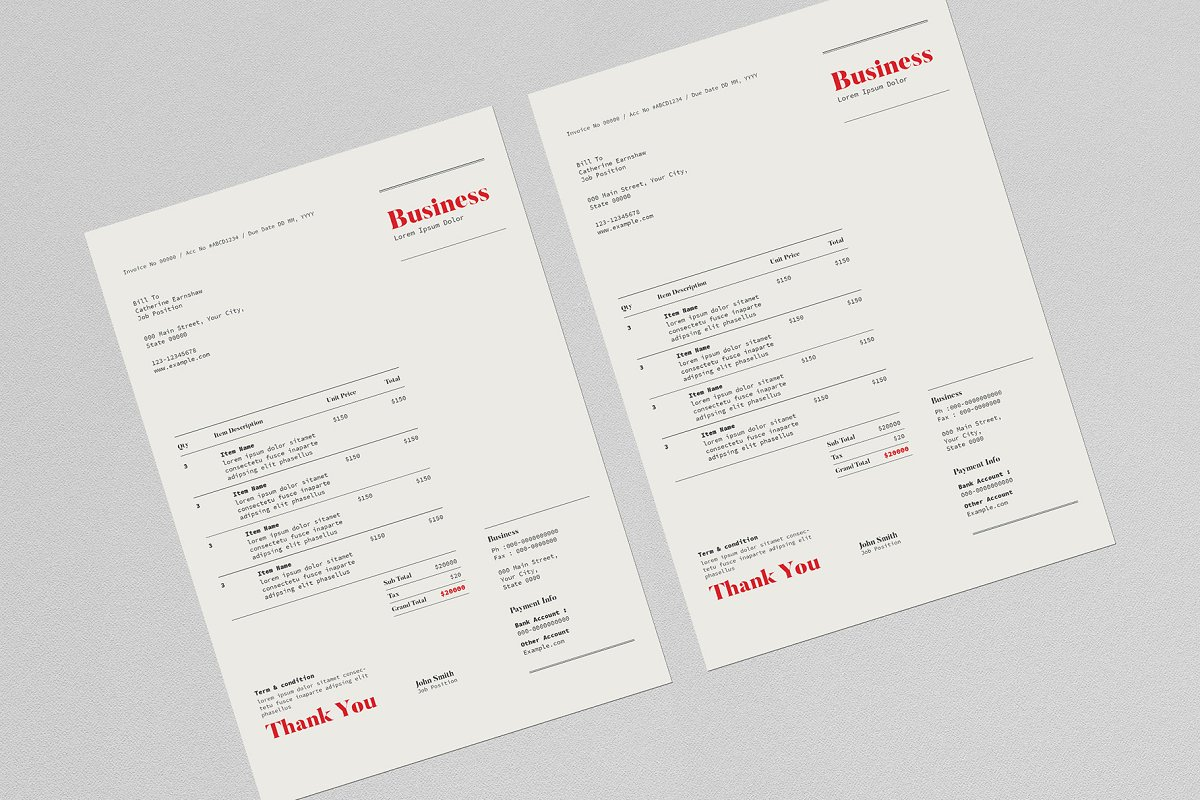 Invoice Template in Stationery Templates - product preview 2