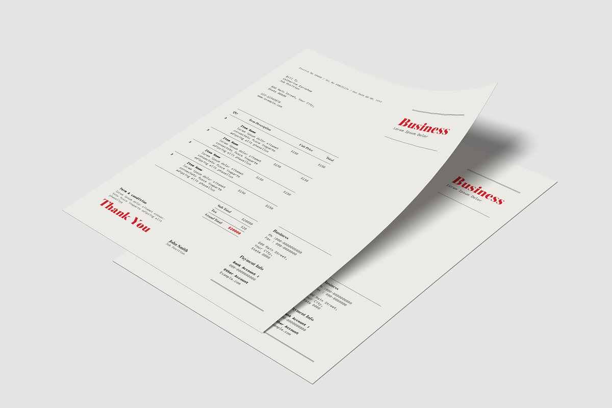 Invoice Template in Stationery Templates - product preview 3