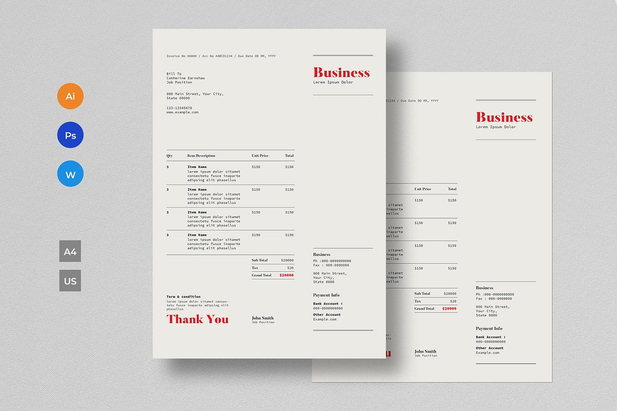Invoice Template in Stationery Templates - product preview 4