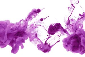Acrylic colors and ink in water.