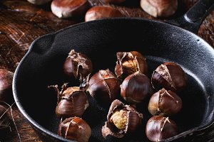 Baked edible chestnuts
