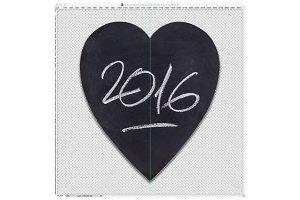 Year 2016 on a heart-shaped slate