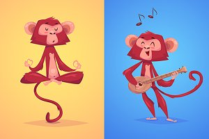 Two funny monkeys. Vector
