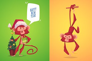 Two cute monkeys. Symbol of new year