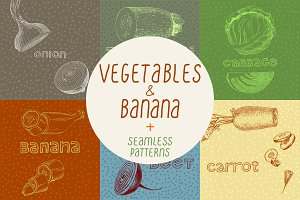 Vegetables: illustrations & patterns