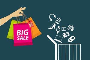 market & shopping Vector