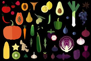 100 vegetables, fruits and herbs set