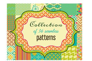 Collection of 36 seamless patterns