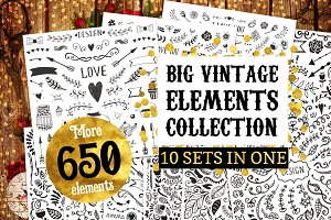 Big Vintage Bundle! 650 elements