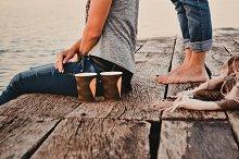 Lovely couple on a sea dock