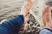 Water Drops around Happy Couple