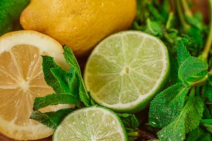 Fresh ripe citruses with mint